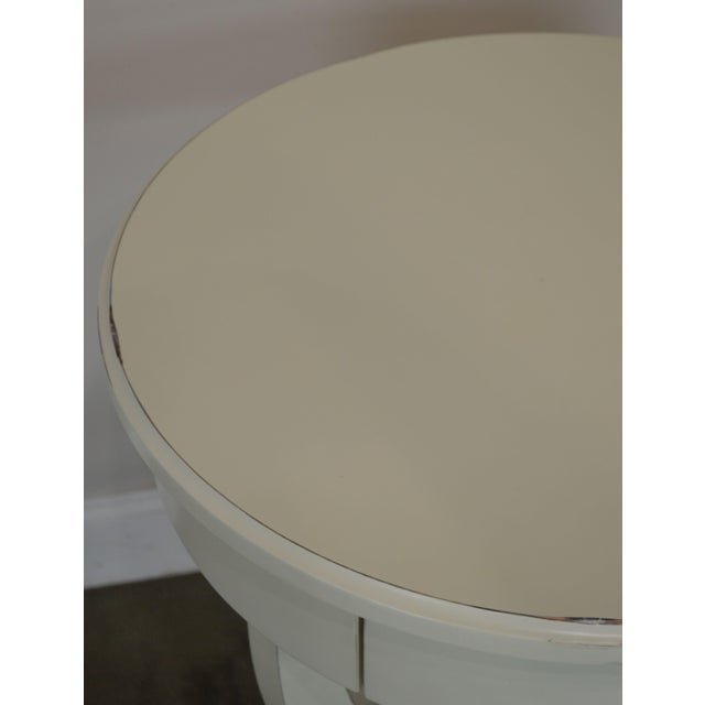 White Round White One Drawer Side Table For Sale - Image 8 of 13