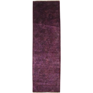 "Modern Purple Over-Dyed Hand-Knotted Wool Runner - 2'10"" X 9'3"""