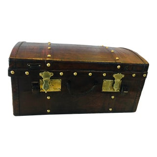 Antique Leather Desktop Trunk with Brass Hardware For Sale