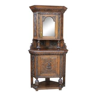 19th Century Gothic Oak Renaissance Revival Corner Display Cabinet For Sale