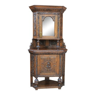 Antique 19th Century Gothic Oak Renaissance Revival Corner Display Cabinet For Sale