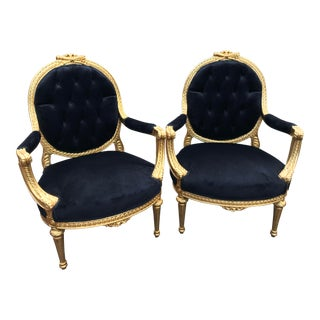 Vintage 1900's French Louis XVI Black Velvet Chairs - a Pair For Sale