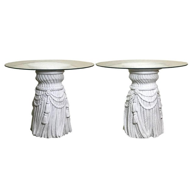 Glass Hollywood Regency Tassel Fringe Rope Side Tables in the Manner of Dickinson – a Pair For Sale - Image 7 of 7