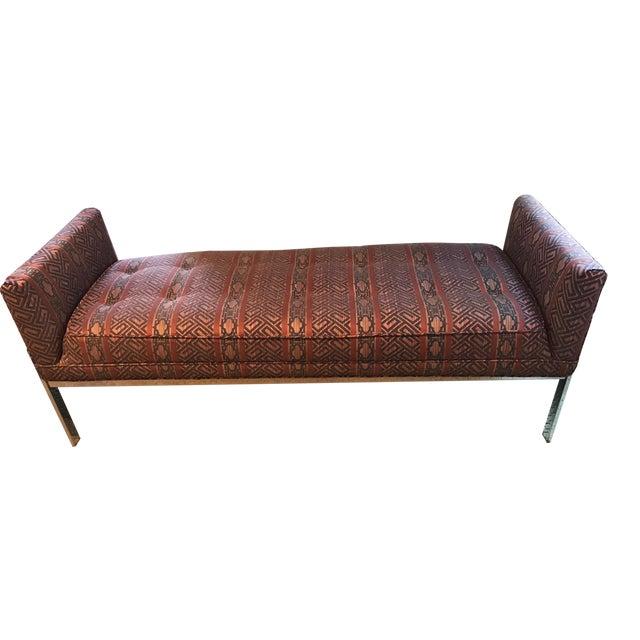 Vintage Chrome Upholstered Bench - Image 1 of 9