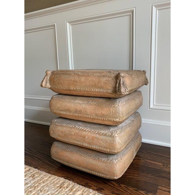 Italian Vintage Italian Stacked Cushion Terracotta Garden Stool/Side Table For Sale - Image 3 of 13