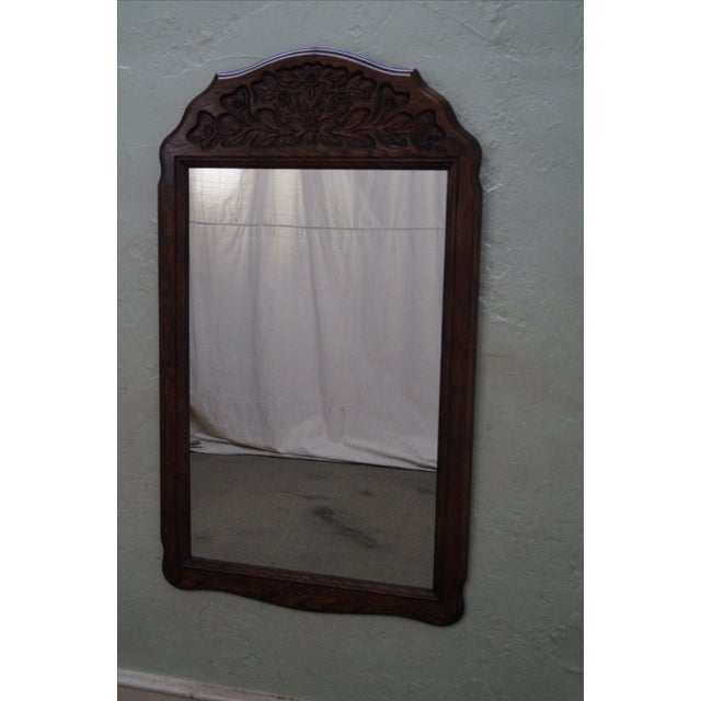 Solid Oak Frame French Country Style Hanging Wall Mirror AGE/COUNTRY OF ORIGIN: Approx 40 years, America...