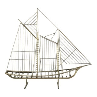 1970s Modern Curtis Jere Brass Ship Sculpture For Sale