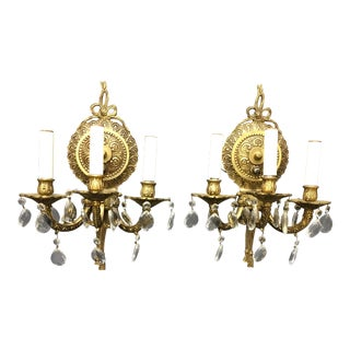 Vintage Brass and Crystal Wall Sconce - a Pair For Sale