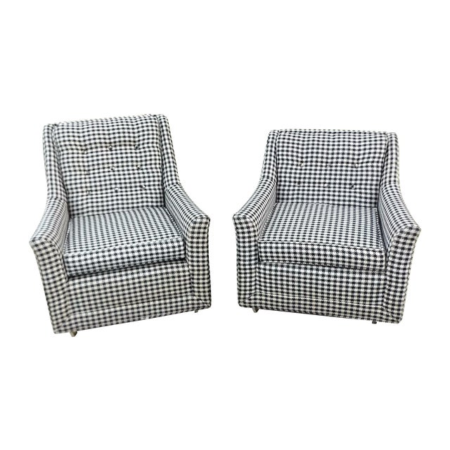 Kroehler Mid-Century Houndstooth Chairs - A Pair For Sale