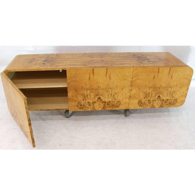 Brown Wall Mount Hanging Burl Wood Bar Shape Credenza Cabinet Double Door Compartment For Sale - Image 8 of 10
