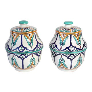 Moorish Ceramic Glazed Covered Jars Handcrafted in Fez Morocco - a Pair For Sale