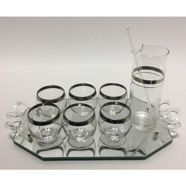 1940s Cocktail Set 6 Glasses Pitcher Stirrer on Mirror Tray by Dorothy Thorpe - Set of 9 Pieces For Sale - Image 9 of 10