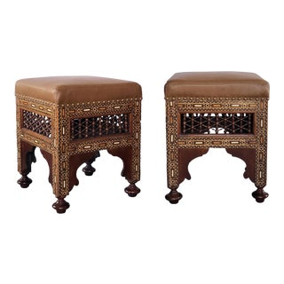 1920s Moroccan Carved and Inlaid Square Upholstered Stools - a Pair For Sale