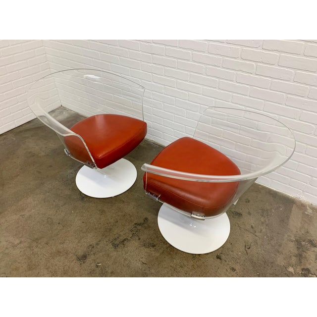 Lucite and Leather Space Age Chairs For Sale - Image 4 of 12