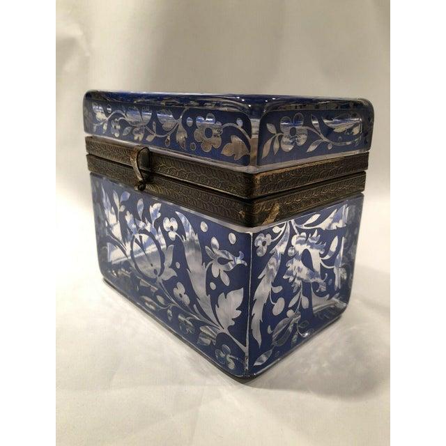 Antique Bohemian Glass Sugar Casket/ Jewelry/Vanity/Trinket Box For Sale - Image 13 of 13