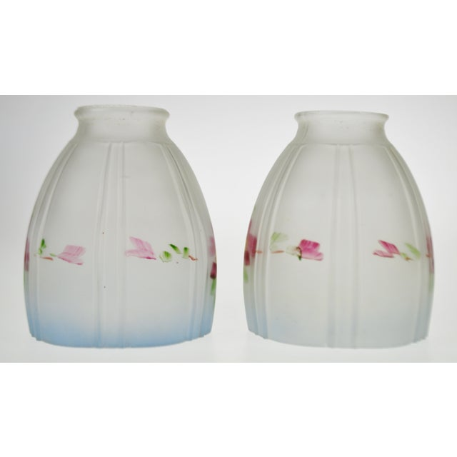 Victorian Handpainted Frosted Glass Light Shades - a Pair For Sale In Philadelphia - Image 6 of 12