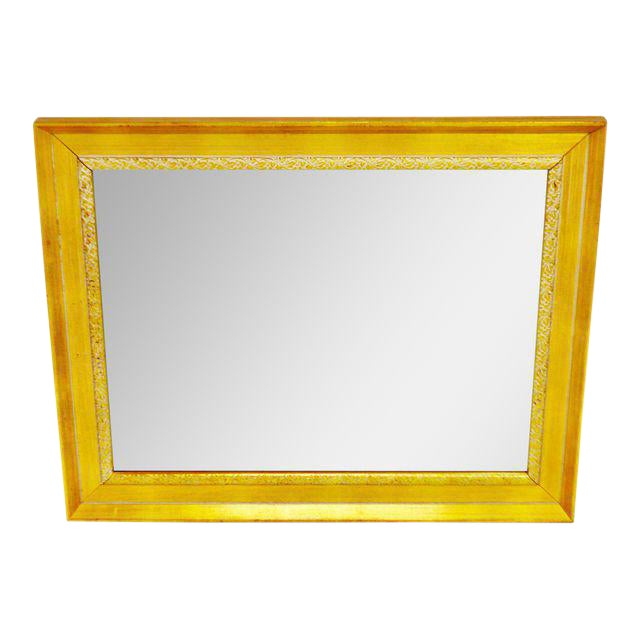Vintage Gold and White Striated Paint Framed Mirror For Sale