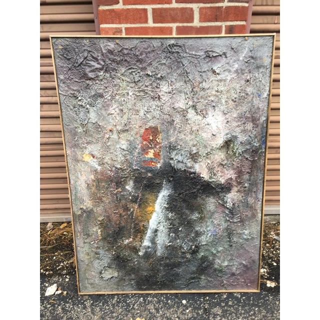 """Gray Tall Abstract """"Summer 1988"""" Gray Mixed Media Painting by Louis Papp For Sale - Image 8 of 8"""