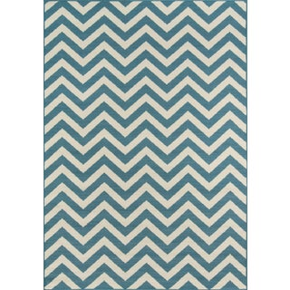 "Momeni Baja Blue Indoor/Outdoor Rug - 6'7"" X 9'6"" For Sale"