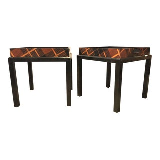 Jonathan Charles Hand Inlaid Butler's Table - a Pair