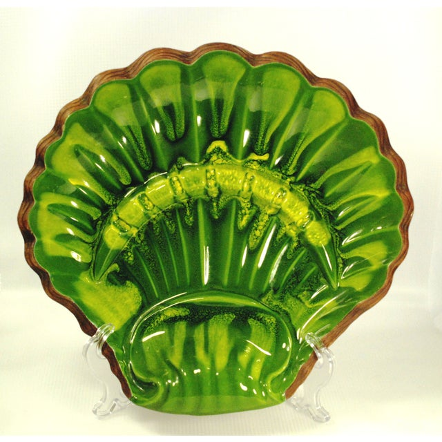 California Pottery Large Green Clamshell Ashtray - Image 2 of 8
