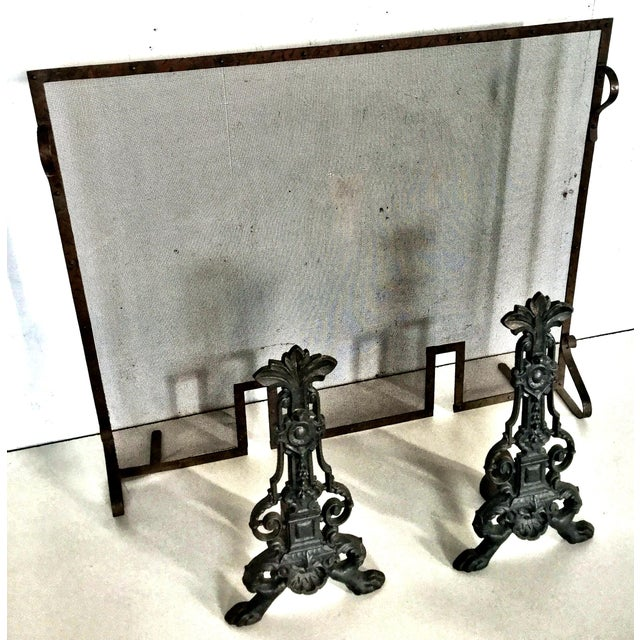 Brown Early 19th Century Antique French Fireplace Screen and Andirons - Set of 3 For Sale - Image 8 of 12