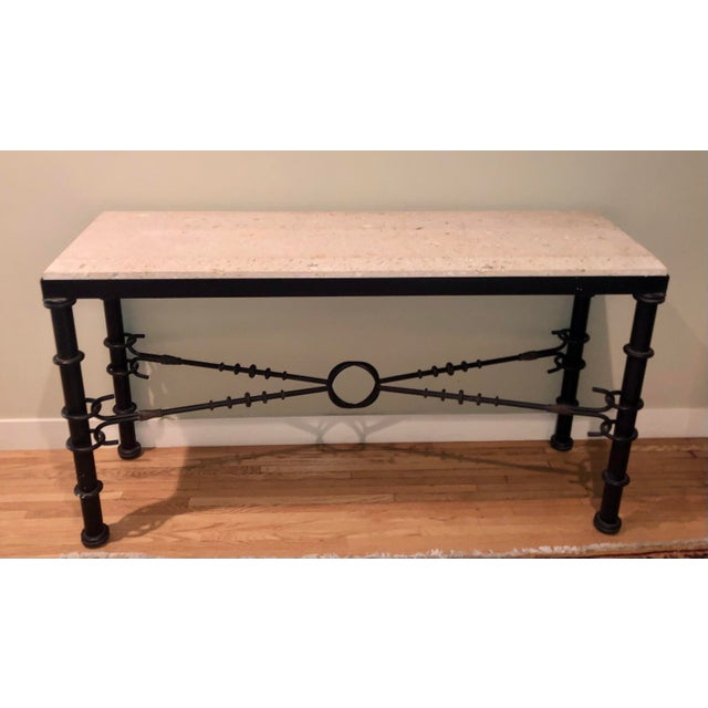 2000 - 2009 Giacometti Style Formations Texas Shell Stone Travertine Marble Console Table For Sale - Image 5 of 5