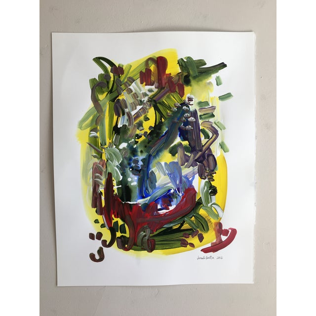 Original abstract painting by Jessalin Beutler completed in 2016. Done in vibrant acrylic paints on paper, reminiscent of...