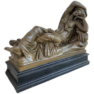 Italian Bronze Tuscany Neoclassical Style Sculpture Featuring a Relaxed Woman For Sale
