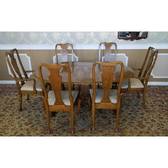 Queen Anne Dining Room Table: Baker Furniture Banded Oak Queen Anne Dining Set 1980s