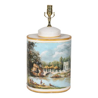 Vintage English Export Hand Painted T Oval Shape Tea Caddy Lamp For Sale