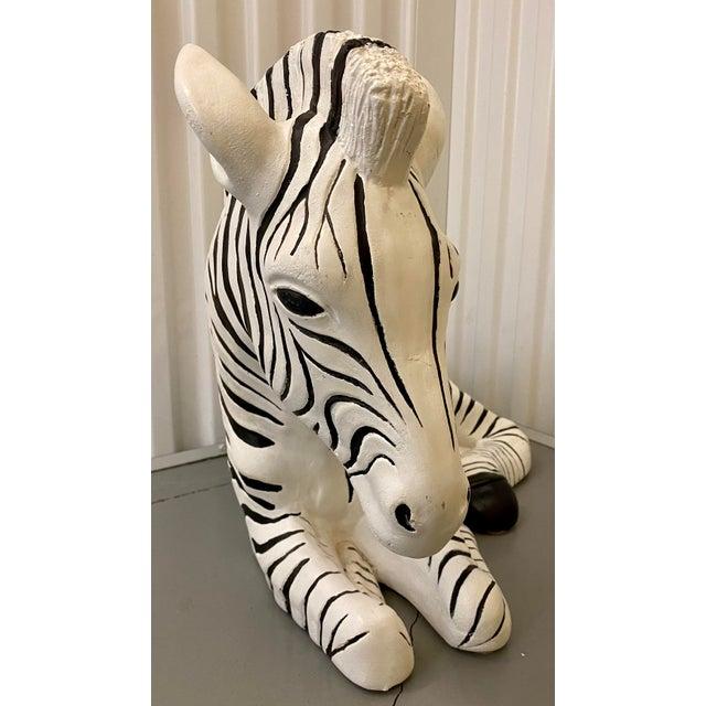 Black 1960s Black & White Zebra Floor Sculpture For Sale - Image 8 of 9