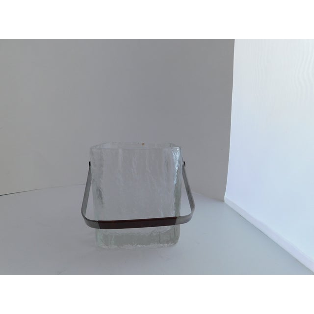 Mid Century Textured Hoya Glass Ice Bucket and Tongs For Sale - Image 12 of 13