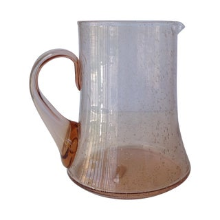 Vintage 1970s Neiman Marcus Murano Blush Pink Water Carafe/Pitcher For Sale