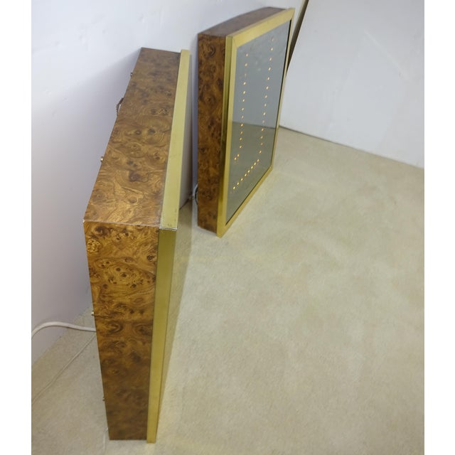 Vintage Brass & Burl Wood Infinity Mirrors - a Pair - Image 5 of 10