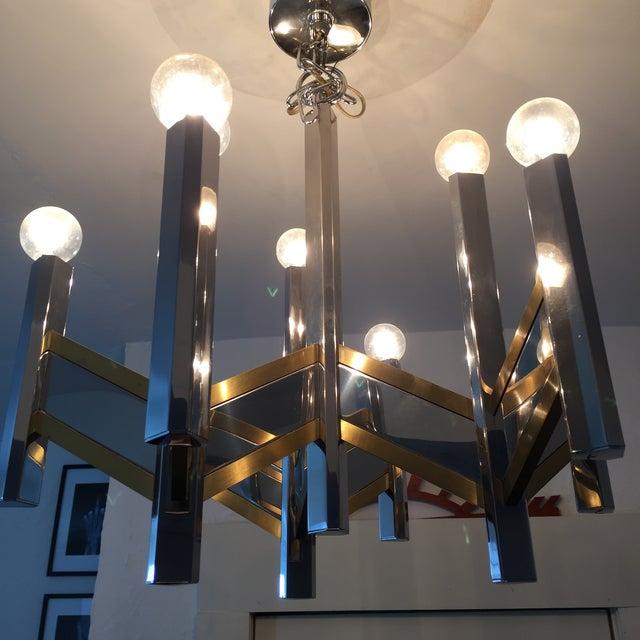 Sciolari Brass and Chrome 12 Bulb Chandelier - Image 10 of 10