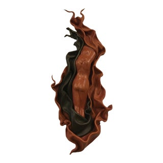 Hand Formed Leather Sculpted Figure of a Woman - Wall Hanging For Sale