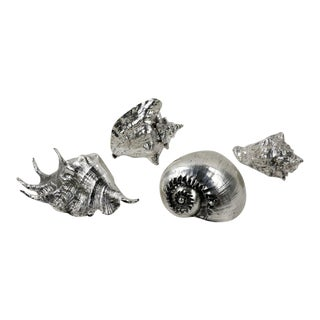 Buccellati Style Silver Overlay Sea Shells - Set of 4 For Sale