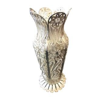 "Turkish Decorative Filigree Silver Decorative Vase 8.75""h For Sale"