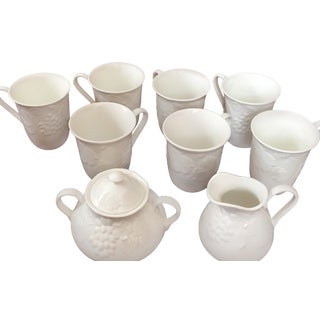 1980s Wedgwood Strawberry & Vine Set 7 Mugs & Sugar & Creamer - Set of 9 For Sale