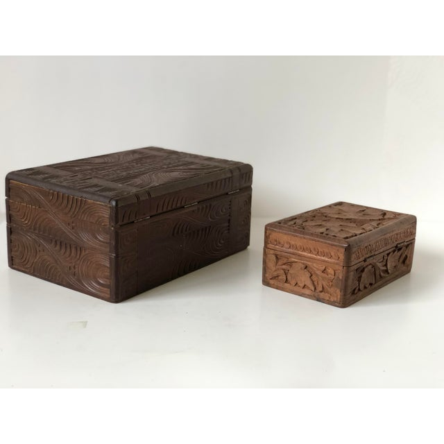 English Wooden Carved Boxes, 19th Century - a Pair For Sale - Image 4 of 13