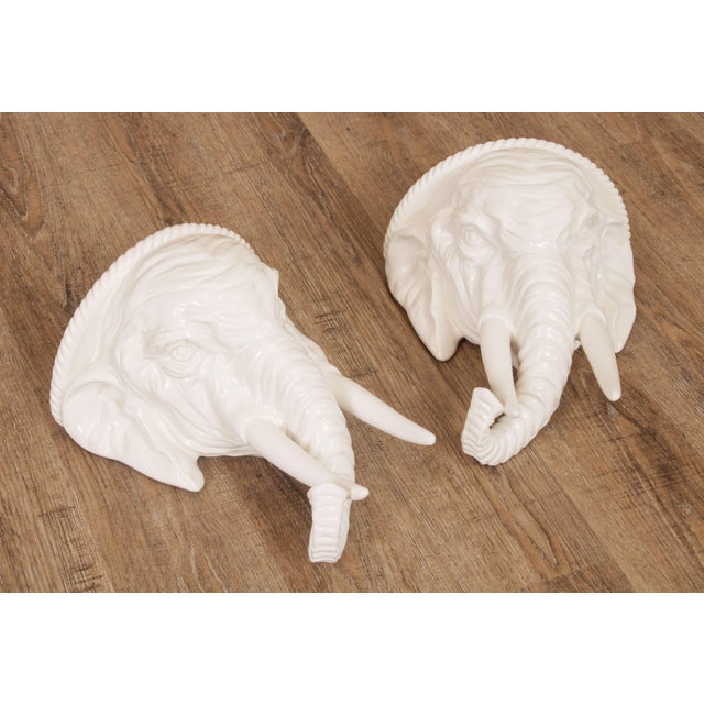 High Quality Vintage Pair of White Glazed Ceramic Elephant Wall Shelves Made in Italy Store Item#: 24122