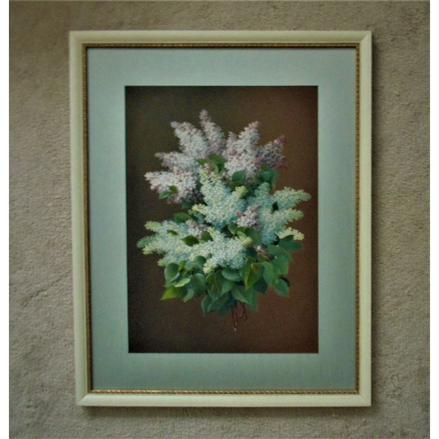 Late 19th Century Late 19th Century Antique Raoul Maucherat De Longpre French Victorian Lilacs Gouache Signed Painting For Sale - Image 5 of 5