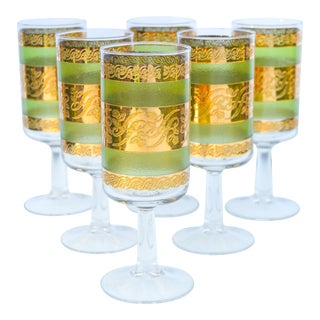 Green & Gold-Patterned Glasses- S/6 For Sale
