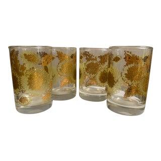 Mid-Century Modern 22k Gold Bartlett Collins Chrysanthemum Glasses - Set of 4 For Sale