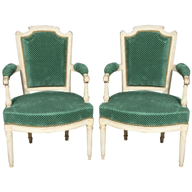 French Louis XVI Style Armchairs - A Pair - Image 1 of 6