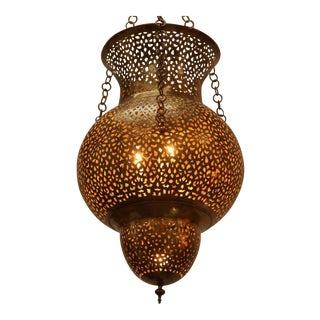 Pair of Moroccan Moorish Polished Brass Chandeliers For Sale