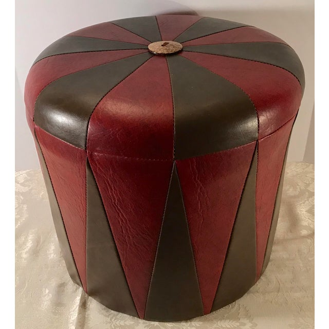 Boho Chic 20th Century Boho Chic Brown Leatherette Pouf Footstool For Sale - Image 3 of 8