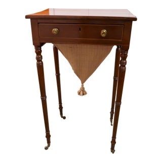 Antique Cherry Wood Sewing Table For Sale