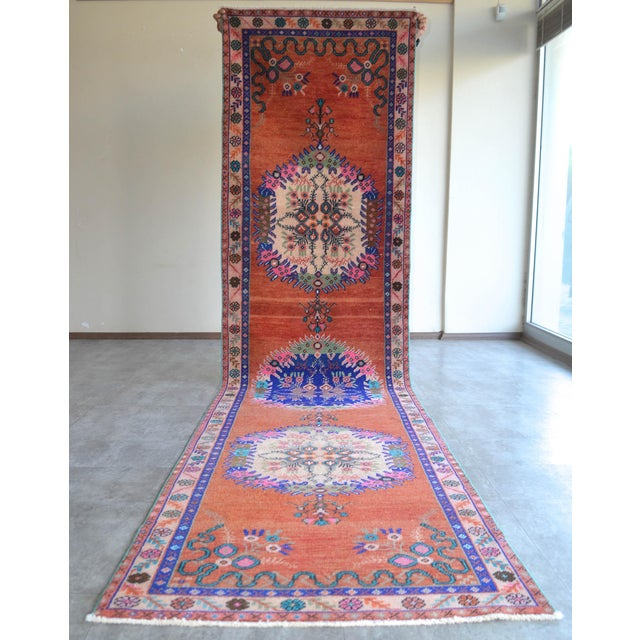 """Oushak Runner Rug Turkish Hand Knotted Distressed Hallway Rug - 3'1"""" X 12'7"""" For Sale In New York - Image 6 of 9"""
